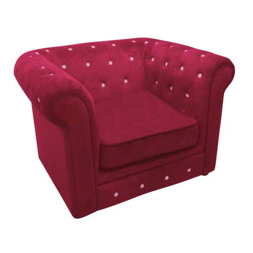 Armchair Chesterfield In Deep Red Velour