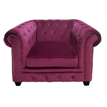 Armchair Chesterfield In Purple Velour