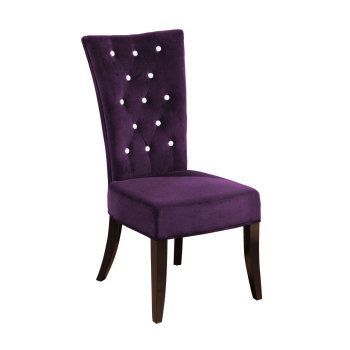 Dining Chair In Purple Velour Crystal Studded