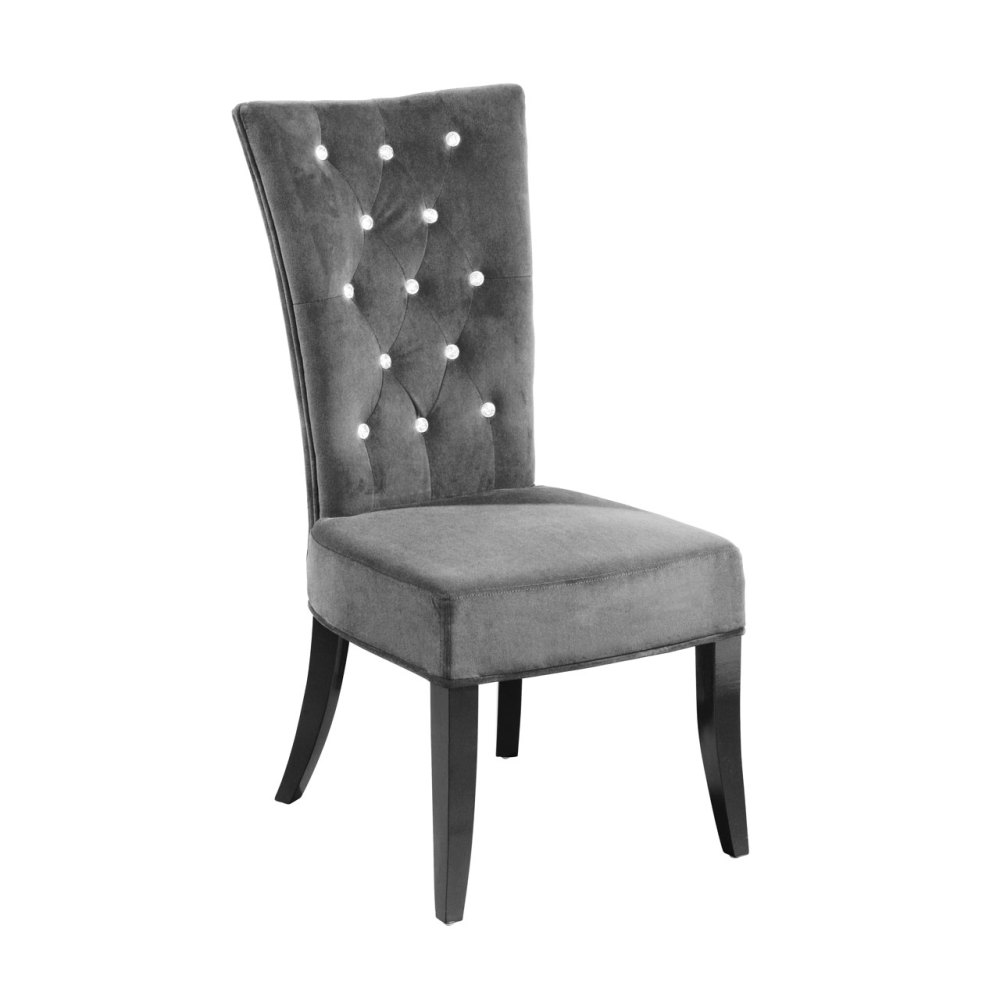 Dining Chair In Black Velour Crystal Studded