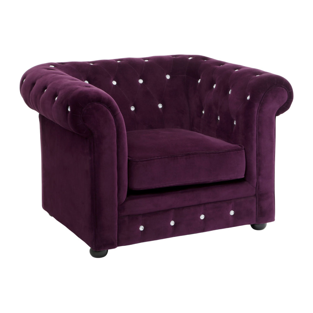 Regent Armchair Chesterfield In Purple Velour Crystal Studded