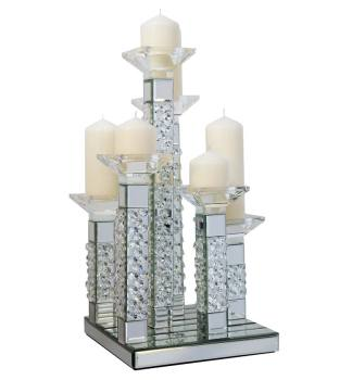 Floating Crystals Mirrored Candelabra 27cm x 27cm x 51cm