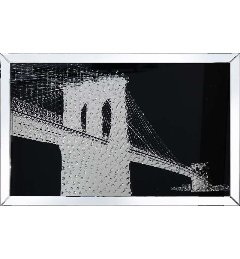 Floating Crystals New York Bridge Wall Art Black Mirrored Frame 120cm x 80c