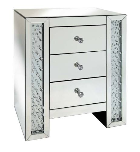 Floating Crystals Mirrored Chest of Drawers
