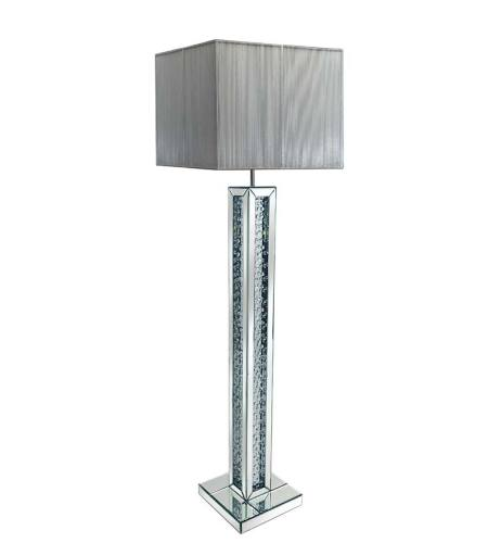 Floating Crystals Mirrored Tall Lamp 30.5cm x 142cm