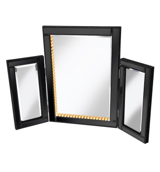 LED Black Tri Fold Mirror 78cm x 54cm
