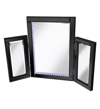 Blue LED Black Tri Fold Mirror 78cm x 54cm