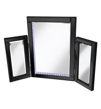 LED Black Tri Fold Mirror 78cm x 54cm
