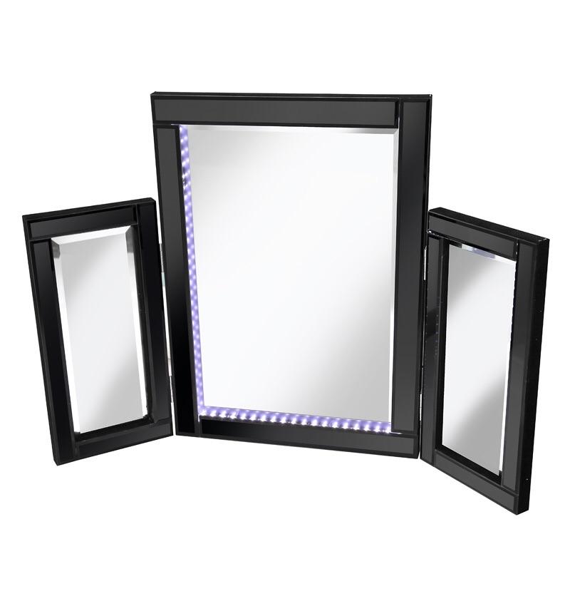 Blue LED Black Tri Fold Mirror 78cm x 54cm