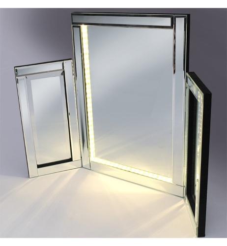 LED Silver Tri Fold Mirror 78cm x 54cm