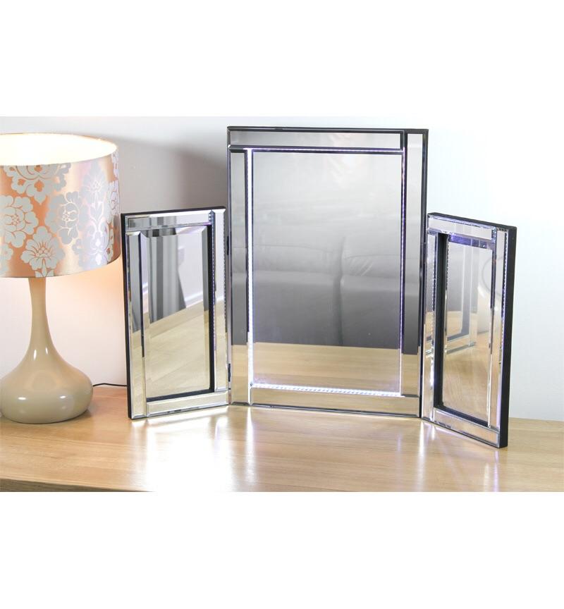 Blue LED Silver Tri Fold Mirror 78cm x 54cm