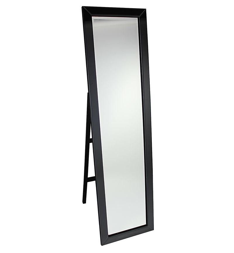Mitred Edge Black Bevelled Cheval Mirror 150cm x 40cm