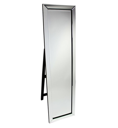 Mitred Edge Silver Bevelled Cheval Mirror 150cm x 40cm