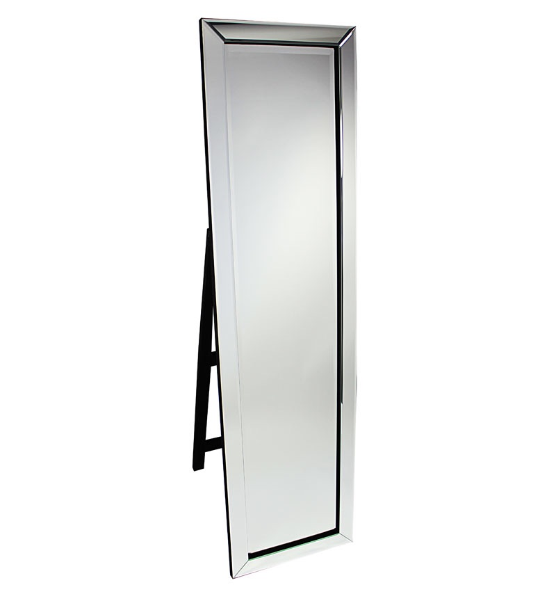 Mitred Edge Silver Bevelled Cheval Mirror 150cm x 40cm