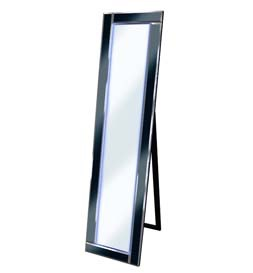 LED Blue -  Black Bevelled Cheval Mirror 158cm x 44cm