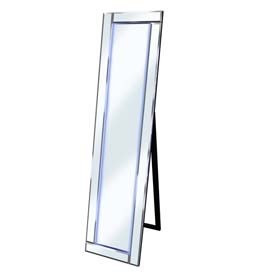 LED Blue - Silver Bevelled Cheval Mirror 158cm x 44cm