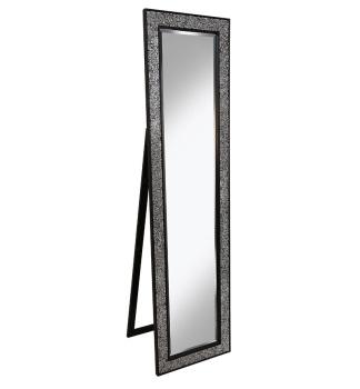 Mosaic Black / SIlver  Bevelled Cheval Mirror 170cm x 45cm