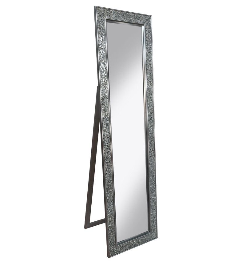 Mosaic SIlver Crush Bevelled Cheval Mirror 170cm x 45cm