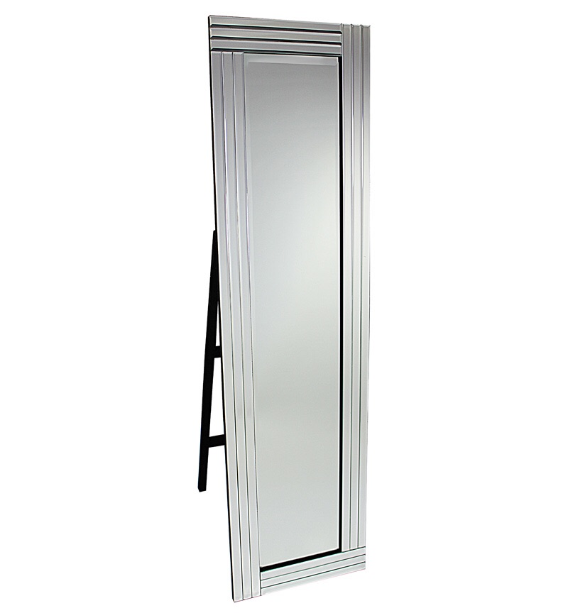 Triple Band Silver Bevelled Cheval Mirror 150cm x 40cm