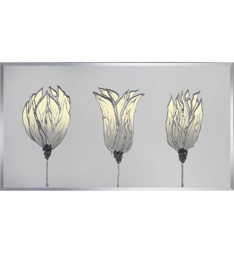 Liquid Glass Triple Tulip Poppies Cream and Swarovski Crystals.