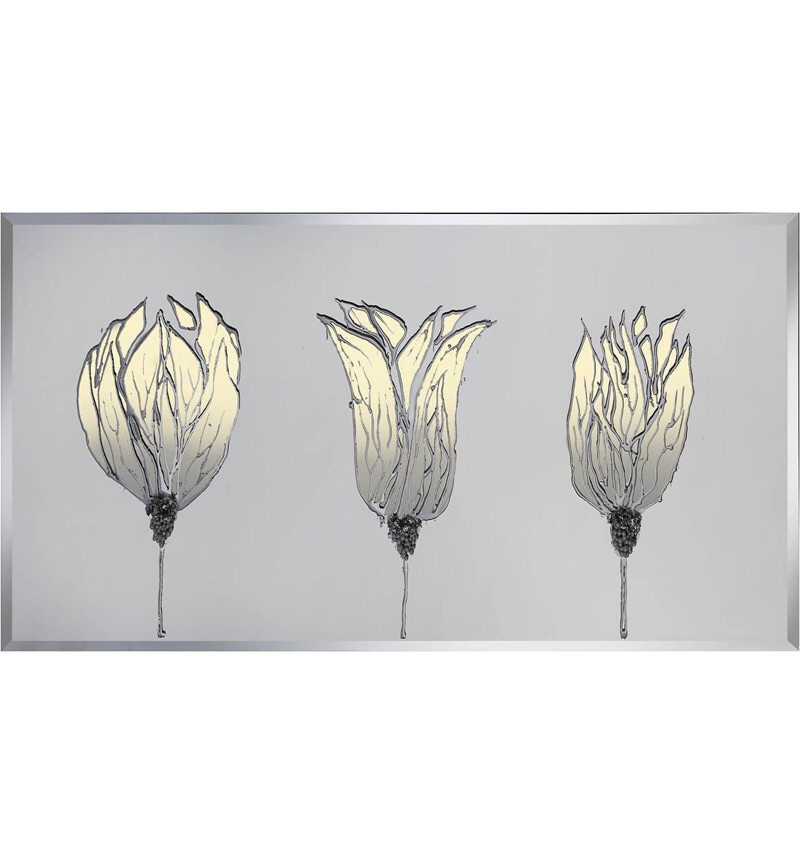 Liquid Glass Triple Tulip Poppies Cream and Swarovski Crystals.