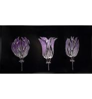 Liquid Glass Triple Tulips in Purple  on a Black Mirror 120cm x 60cm