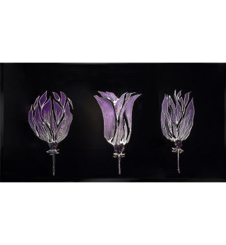 Liquid Glass Triple Tulip in Purple and Swarovski Crystals on a Black Mirror 120cm x 60cm