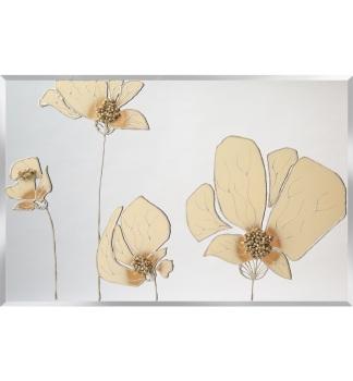 Liquid Glass Flowers in Cream and Swarovski Crystals on a Silver Mirror 120cm x 60cm