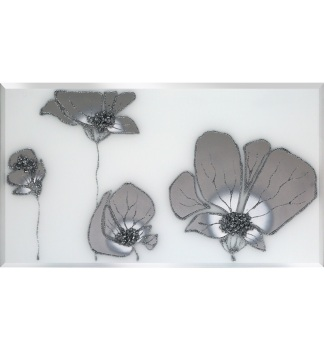 Liquid Glass Flowers in Silver and Swarovski Crystals on a White Mirror 100cm x 60cm