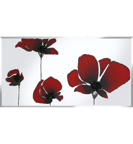 Liquid Glass Tulips / Poppies in Red and Swarovski Crystals on a Silver Mir
