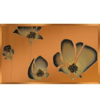 Liquid Glass Tulips / Poppies and Swarovski Crystals on a Bronze Mirror 120cm x 60cm