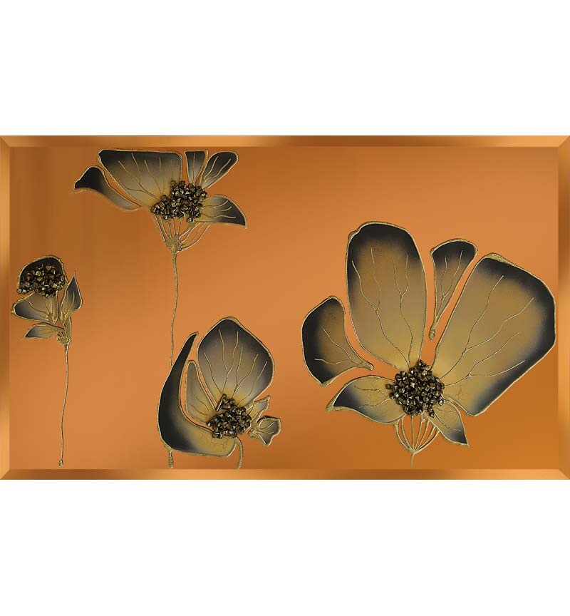 Liquid Glass Tulips / Poppies in and Swarovski Crystals on a Bronze Mirror