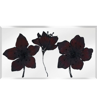 Liquid Glass Flowers in Deep Red and Swarovski Crystals on a Silver Mirror 120cm x 60cm