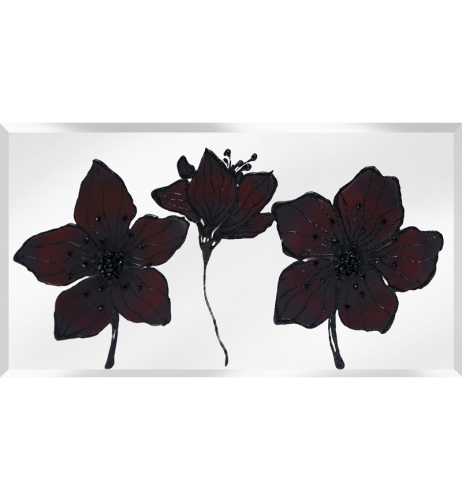 Liquid Glass Tulips / Poppies in Chocoalte Brown and Swarovski Crystals on