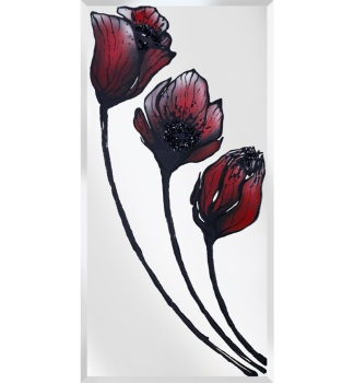 Liquid Glass Tulips / Poppies in Red and Swarovski Crystals on a Silver Mirror