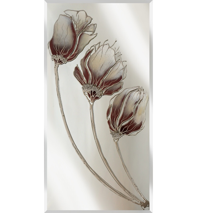 Liquid Glass Tulips / Poppies and Swarovski Crystals on a Silver Mirror