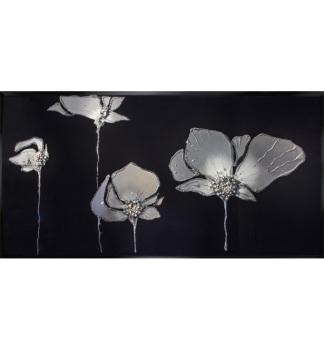 Liquid Glass Flowers in Silver and Swarovski Crystals on a Black Mirror 120cm x 80cm