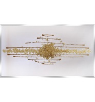 Cluster Explosion in champagne Gold on a Silver Bevelled Mirror 120cm x 60cm ** Special offer**