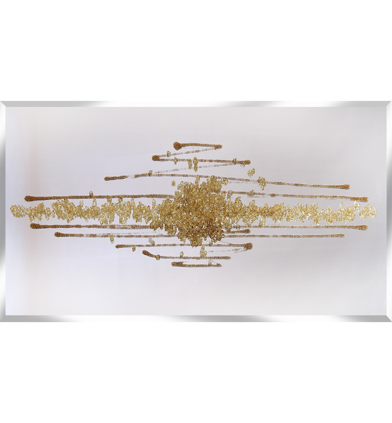 Cluster Explosion in champagne Gold on a Silver Bevelled Mirror