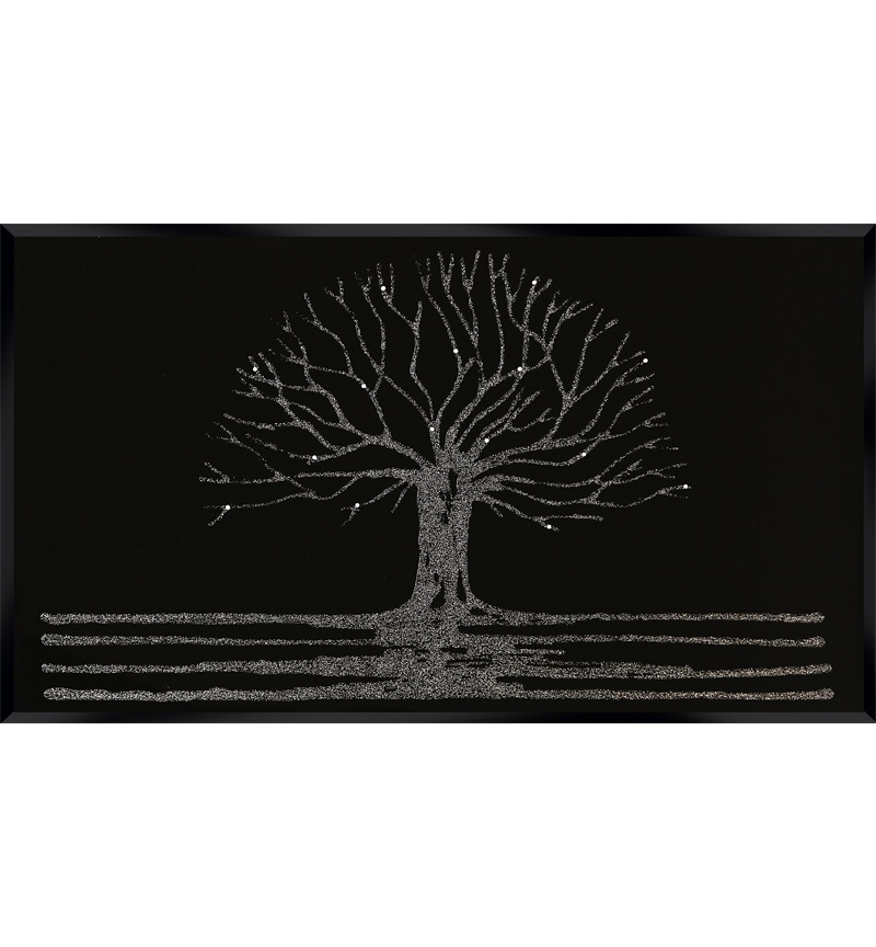 Glitter Tree in Silver on a Black Bevelled Mirror 100cm x 60cm Special Offe