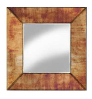 Supreme Modern Box Frame Venetian Bevelled Antiqued Gold Mirror 100cm x 100cm