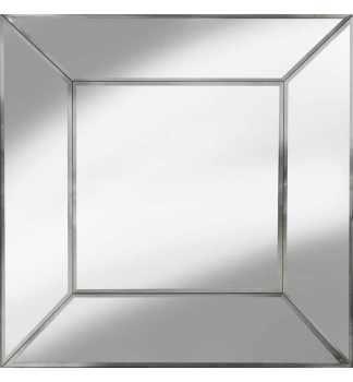 Supreme Modern Cube Frame Venetian Bevelled Silver Mirror 100cm x 100cm