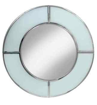 Supreme Modern Box Frame Round Venetian Bevelled White Mirror 80cm x 80cm