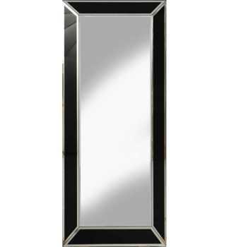 Supreme Modern Box Frame Venetian Bevelled Black Mirror 140cm x 60cm