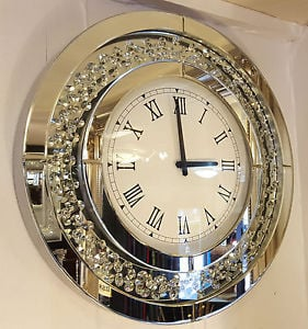 Floating Crystals Mirrored Round Wall Clock 50cm dia