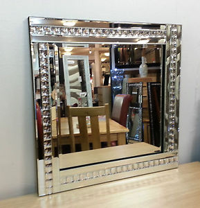 Frameless Bevelled Crystal Border Silver Mirror 60cm x 60cm in stock