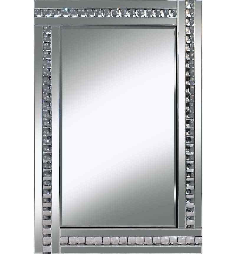 Frameless Bevelled Crystal Border Silver Mirror 80cm x 60cm
