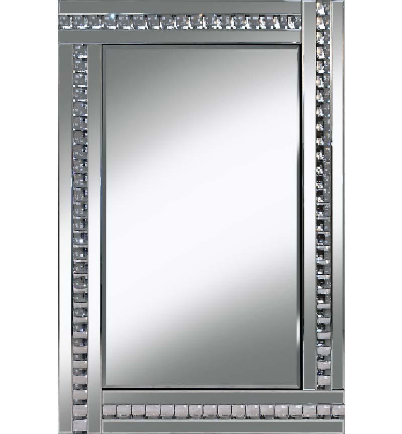 Frameless Bevelled Crystal Border Silver Mirror 120cm x 80cm