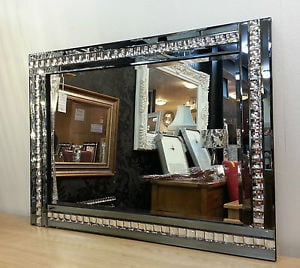 Frameless Bevelled Crystal Border Smoked Grey Mirror 80cm x 60cm