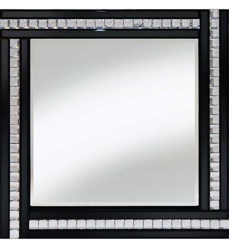 Frameless Bevelled Crystal Border Black & Silver Mirror 60cm x 60cm